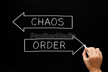 order chaos arrows concept on blackboard
