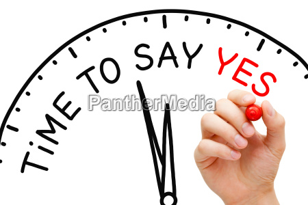 time to say yes clock concept