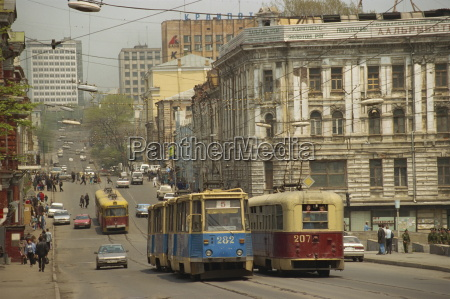 tramwaje na ulicy wladywostok rosyjski daleki