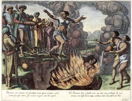 ilustracja suttee samobojstwo z indyjskiej zony