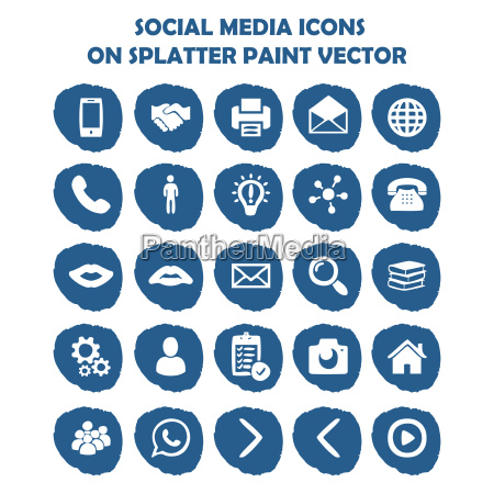 social media ikona ustawiona na niebieska