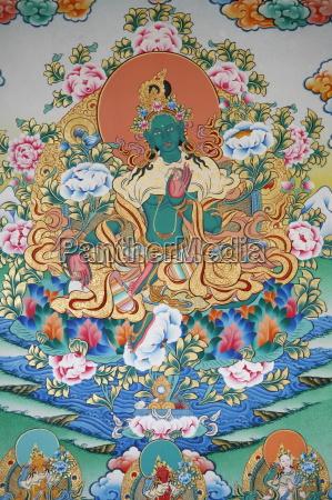 malowanie zielonej tary buddyjski symbol dobrobytu