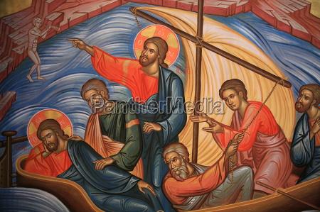greek orthodox icon depicting jesus who