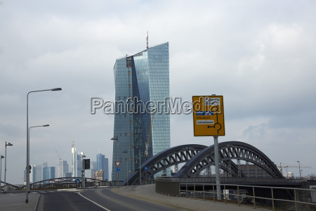 niemcy hesja frankfurt widok na europejski