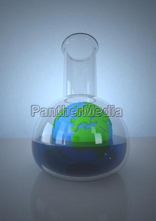 planety ziemia w laboranckiej kolbie przeciw