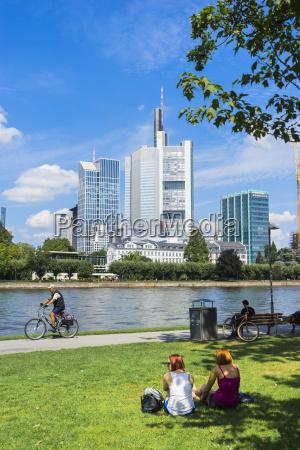 germany hesse frankfurt view to financial