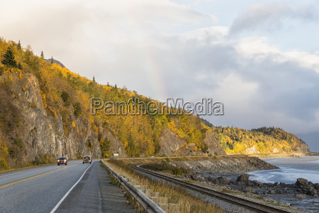 usa alaska car passing through turnagain