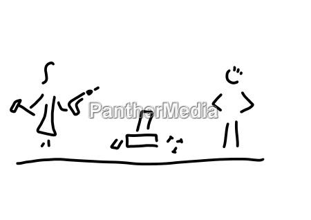 rysunek liniowy kobiety pracujacej z narzedziami