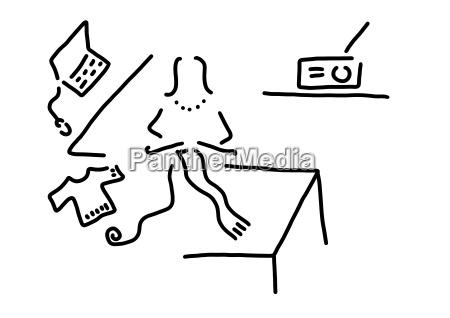 laptop kobieta dziewiarskich szalik rysunek liniowy