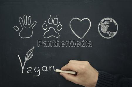 czlowiek rysunek vegan koncepcji na tablicy