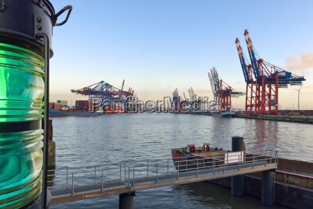 germany hamburg view of container harbour