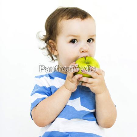 chłopiec, (4-5), nosi, t-shirt, jedzenia, zielone - 21295976