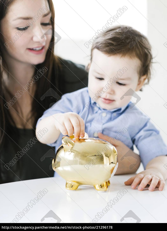 matka, nauczanie, syn, (4-5), jak, do - 21296178