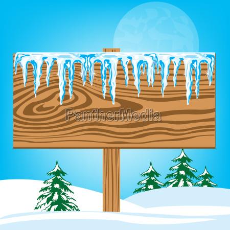 tablica drzewo zima zimowy drewno drewna