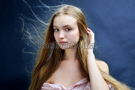 beautiful woman with flying long hair