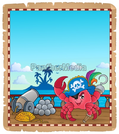 parchment with pirate crab on ship