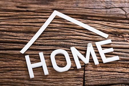 high angle view of home word