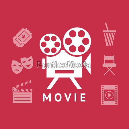 cyfrowy wektor czerwony ikony kina bialy
