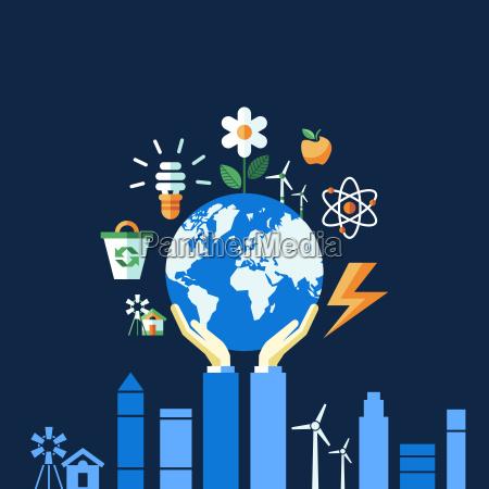 iconos de ecologia azul vectorial digital