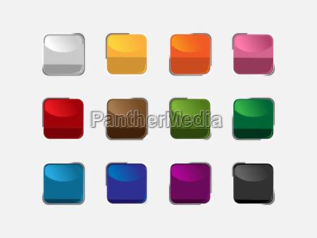 grupa kwadratowych guzikow o roznych kolorach
