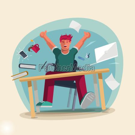 szczesliwy czlowiek szczesliwy pracy w biurze