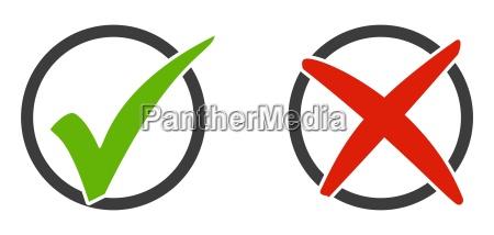 2 ikony zaznacz i x w
