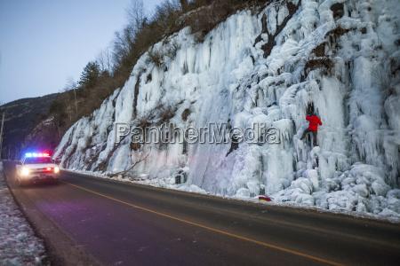 ice climber and police car