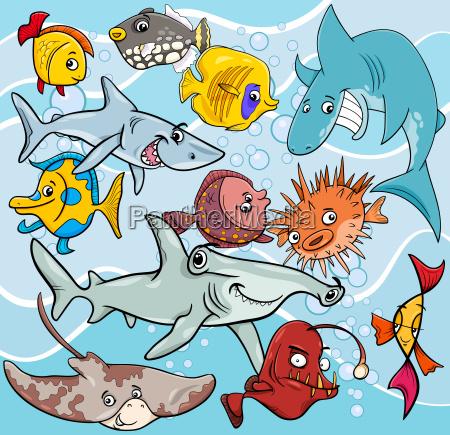 grupa postacie kreskowka ryba zwierze