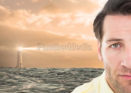 smutny czlowiek obok nadziei latarni morskiej