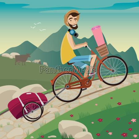 backpacker w trasie rowerowej w gorach