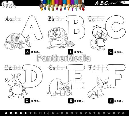 edukacyjne litery alfabetu kreskowki do barwienia