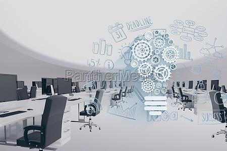 cyfrowy obraz kompozytowy nowoczesnego biura z