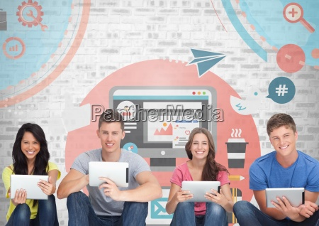 grupa ludzi na tabletkach przed grafika