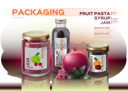 makiety z makaronu owocowegokonfitur i butelek