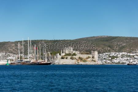 castle and marina of bodrum turkey