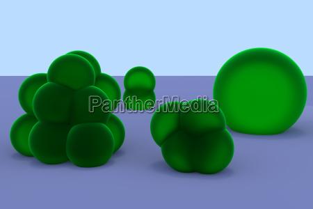 zielony topionego komorek zgrupowane kupa stos