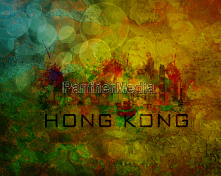 hong kong city skyline on grunge