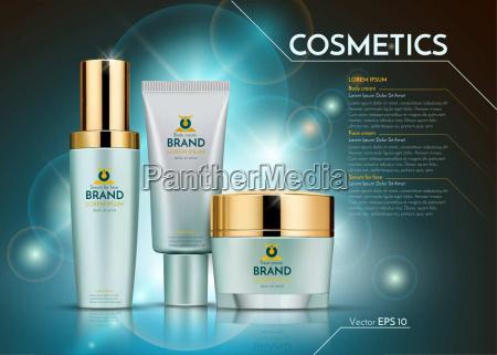 szablon realistyczny pakiet reklamy kosmetyczne wektor