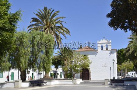 domy kosciol drzewo drzewa hiszpania palmy