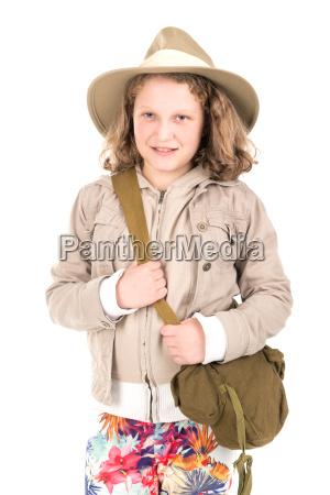 girl in safari clothes