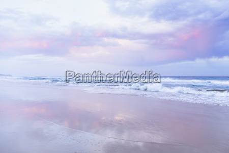beach and ocean landscape with pink