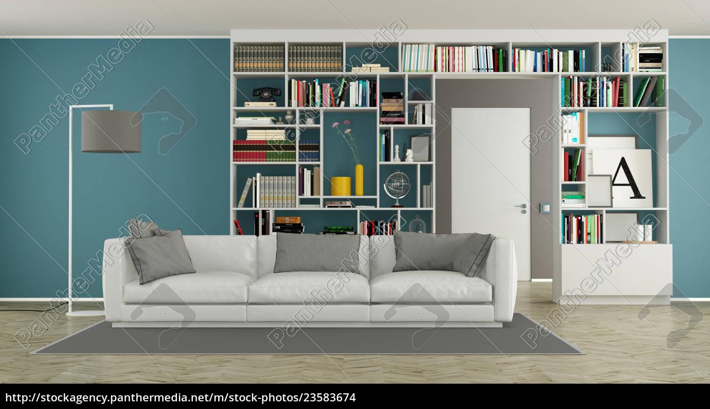 nowoczesny, salon, z, regałem - 23583674