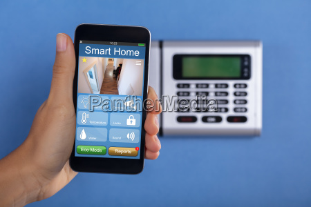 person holding mobile phone with home
