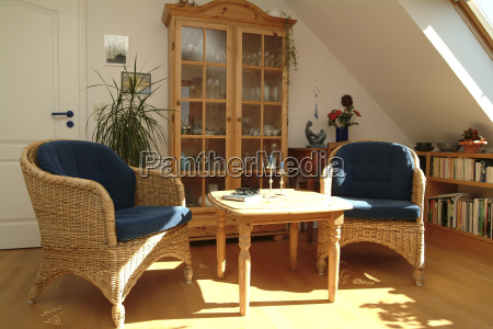 living room with natural wood furniture