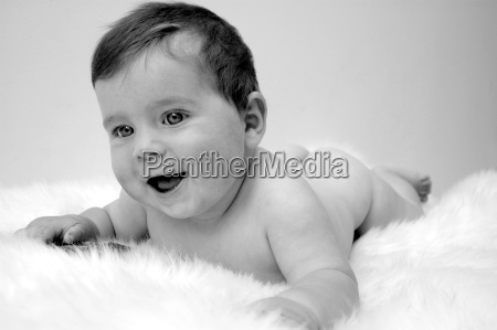 7 months old baby cheerful on