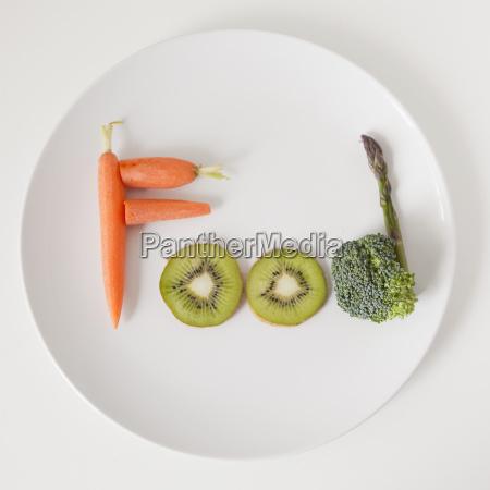 talerz ze slowem jedzenie z owocow