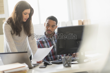 business couple working in office