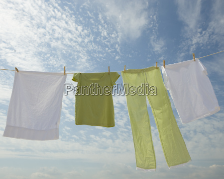 clothes hanging from clothesline