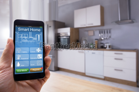 person using smart home system on