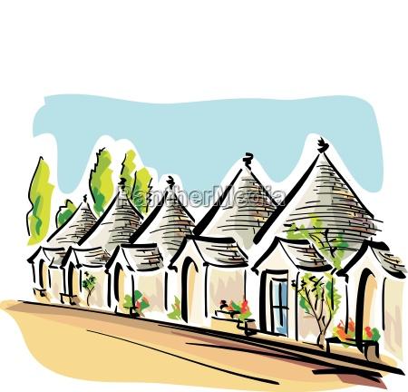 wektor ilustracja apulian typowych domow zwanych